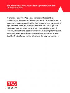 RSA ClearTrust Web Access Management Overview A Technical White Paper
