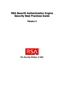 RSA SecurID Authentication Engine Security Best Practices Guide. Version 3