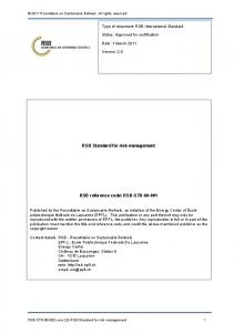 RSB Standard for risk management