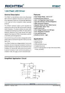 RT A Flash LED Driver. Features. General Description. Applications. Simplified Application Circuit