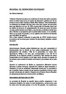 RUANDA: EL GENOCIDIO OLVIDADO