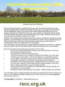 RUDGWICK LAWN TENNIS CLUB Newsletter 2014