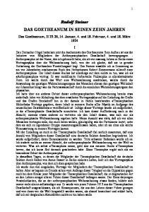 Rudolf Steiner DAS GOETHEANUM IN SEINEN ZEHN JAHREN