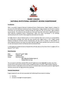 RUGBY CANADA NATIONAL INVITATIONAL UNIVERSITY SEVENS CHAMPIONSHIP