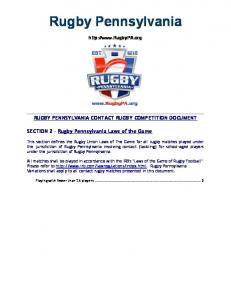 Rugby Pennsylvania.  RUGBY PENNSYLVANIA CONTACT RUGBY COMPETITION DOCUMENT