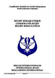 RUGBY SUBAQUATIQUE UNDERWATER RUGBY RUGBY SUBACUATICO