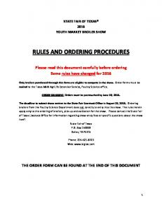 RULES AND ORDERING PROCEDURES