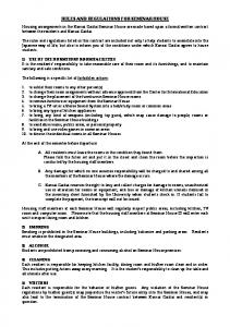 RULES AND REGULATIONS FOR SEMINAR HOUSE