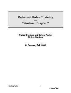 Rules and Rules Chaining. Winston, Chapter 7