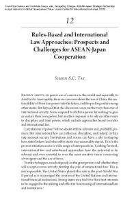 Rules-Based and International Law Approaches: Prospects and Challenges for ASEAN-Japan Cooperation