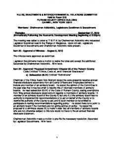 RULES, ENACTMENTS & INTERGOVERNMENTAL RELATIONS COMMITTEE Held In Room 318 PUTNAM COUNTY OFFICE BUILDING CARMEL, NEW YORK 10512