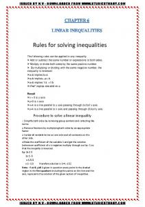 Rules for solving inequalities