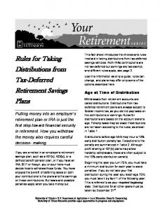 Rules for Taking Distributions from Tax-Deferred Retirement Savings Plans