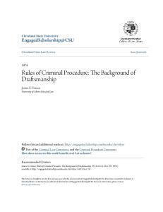 Rules of Criminal Procedure: The Background of Draftsmanship