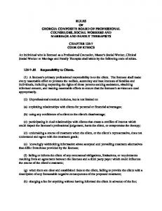 RULES OF GEORGIA COMPOSITE BOARD OF PROFESSIONAL COUNSELORS, SOCIAL WORKERS AND MARRIAGE AND FAMILY THERAPISTS CHAPTER CODE OF ETHICS