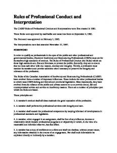 Rules of Professional Conduct and Interpretation