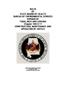 RULES OF STATE BOARD OF HEALTH BUREAU OF ENVIRONMENTAL SERVICES DIVISION OF FOOD, MILK AND LODGING Chapter CONSTRUCTION, MAINTENANCE AND