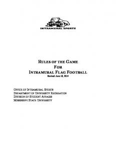 RULES OF THE GAME FOR INTRAMURAL FLAG FOOTBALL Revised June 10, 2014
