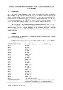 RULES & REGULATIONS FOR THE FIDE WORLD CHAMPIONSHIP MATCH (FWCM) 2016