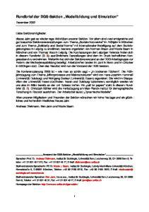 Rundbrief der DGS-Sektion Modellbildung und Simulation