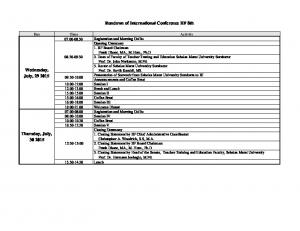 Rundown of International Conference IIF 8th