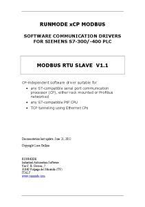 RUNMODE xcp MODBUS MODBUS RTU SLAVE V1.1