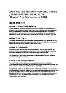 RUNNERS CIUTAT DE VALENCIA Mislata 18 de Septiembre de 2016