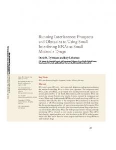 Running Interference: Prospects and Obstacles to Using Small Interfering RNAs as Small Molecule Drugs