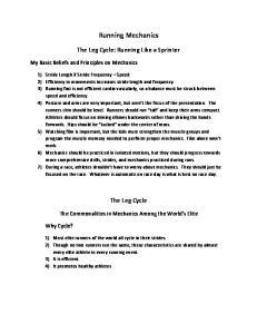 Running Mechanics. The Leg Cycle: Running Like a Sprinter