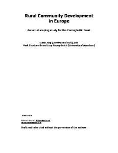 Rural Community Development in Europe