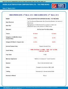 RURAL ELECTRIFICATION CORPORATION LTD TAX FREE BOND