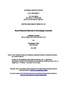 Rural Financial Markets in Developing Countries