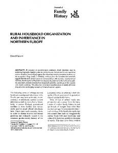 RURAL HOUSEHOLD ORGANIZATION AND INHERITANCE IN NORTHERN EUROPE
