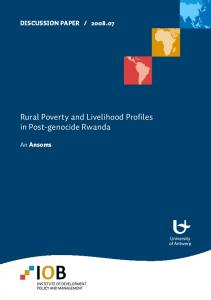 Rural Poverty and Livelihood Profiles in Post-genocide Rwanda