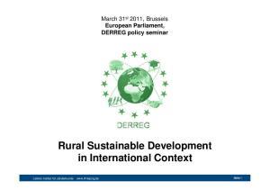 Rural Sustainable Development in International Context