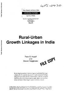 Rural-Urban Growth Linkages in India