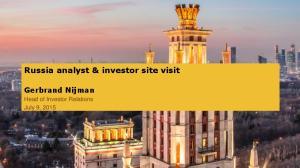 Russia analyst & investor site visit