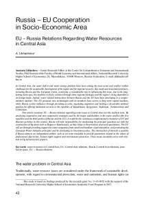 Russia EU Cooperation in Socio-Economic Area