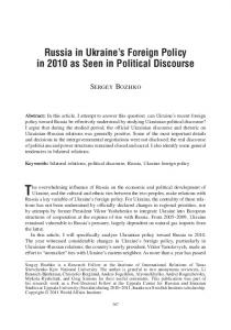 Russia in Ukraine s Foreign Policy in 2010 as Seen in Political Discourse