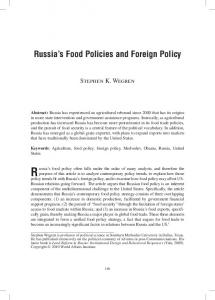 Russia s Food Policies and Foreign Policy