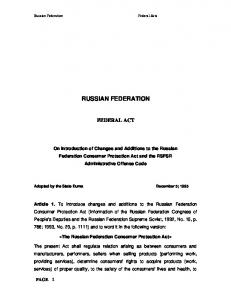 RUSSIAN FEDERATION FEDERAL ACT