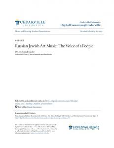 Russian Jewish Art Music: The Voice of a People