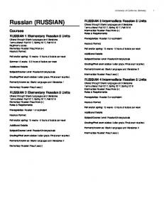 Russian (RUSSIAN) Courses