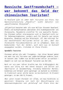 Russische Gastfreundschaft wer bekommt das Geld der chinesischen Touristen?