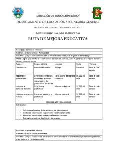 RUTA DE MEJORA EDUCATIVA