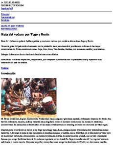 Ruta del vodum por Togo y Benin