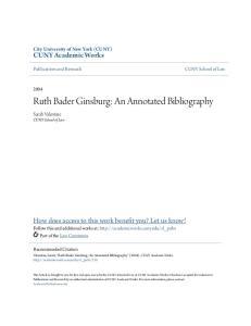 Ruth Bader Ginsburg: An Annotated Bibliography