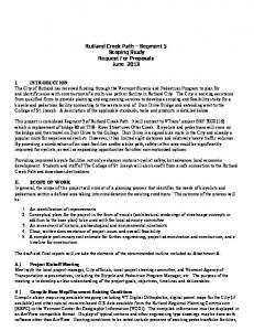 Rutland Creek Path Segment 5 Scoping Study Request For Proposals June 2013