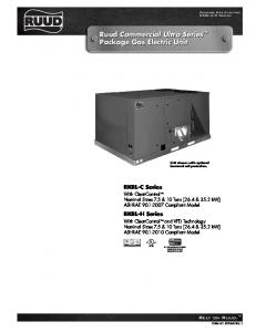 Ruud Commercial Ultra Series Package Gas Electric Unit