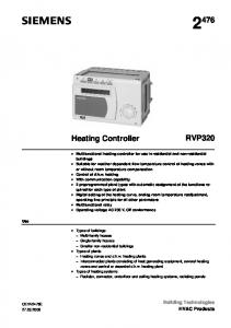 RVP320. Heating Controller. Building Technologies HVAC Products